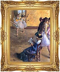 Edgar Degas The Ballet Class canvas with Majestic Gold frame