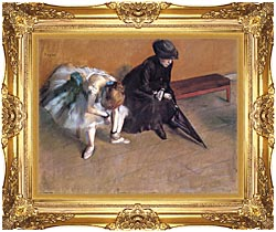 Edgar Degas Waiting canvas with Majestic Gold frame