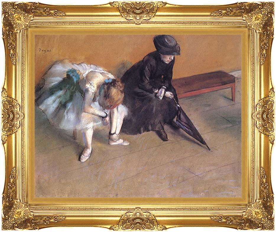 Edgar Degas Waiting with Majestic Gold Frame