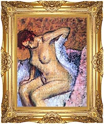 Edgar Degas Woman Sitting Drying Her Back canvas with Majestic Gold frame