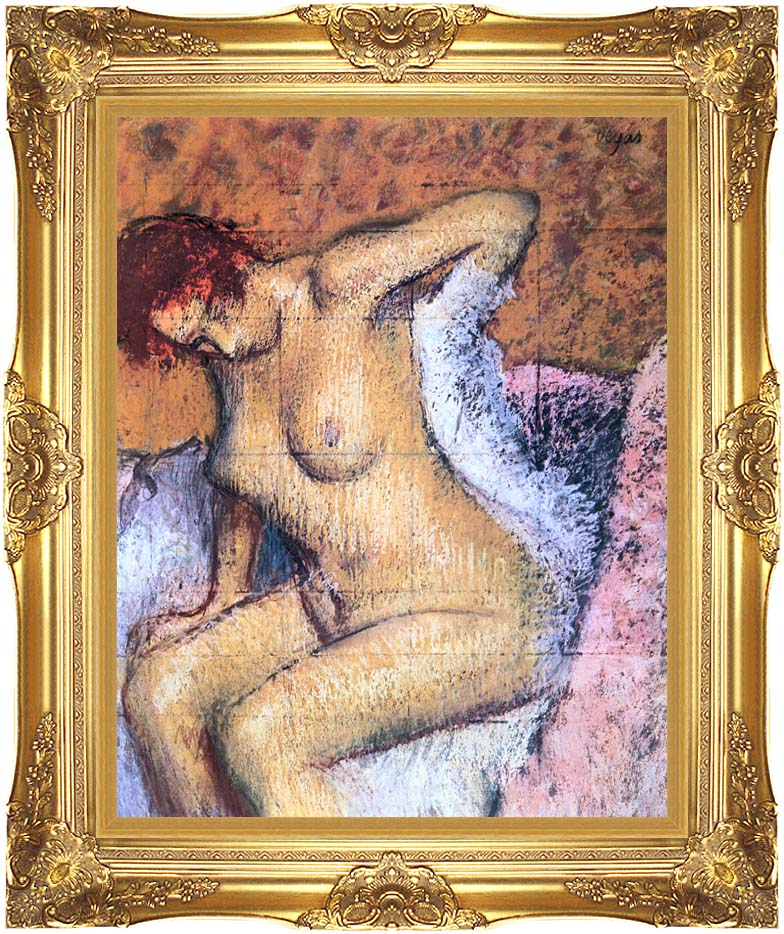 Edgar Degas Woman Sitting Drying Her Back with Majestic Gold Frame