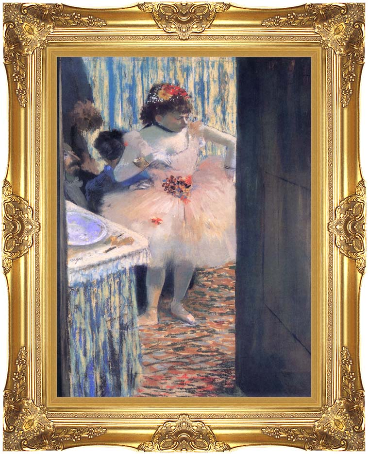 Edgar Degas Dancer in Her Dressing Room with Majestic Gold Frame