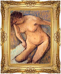 Edgar Degas Woman Drying Her Right Leg Seen From The Front canvas with Majestic Gold frame