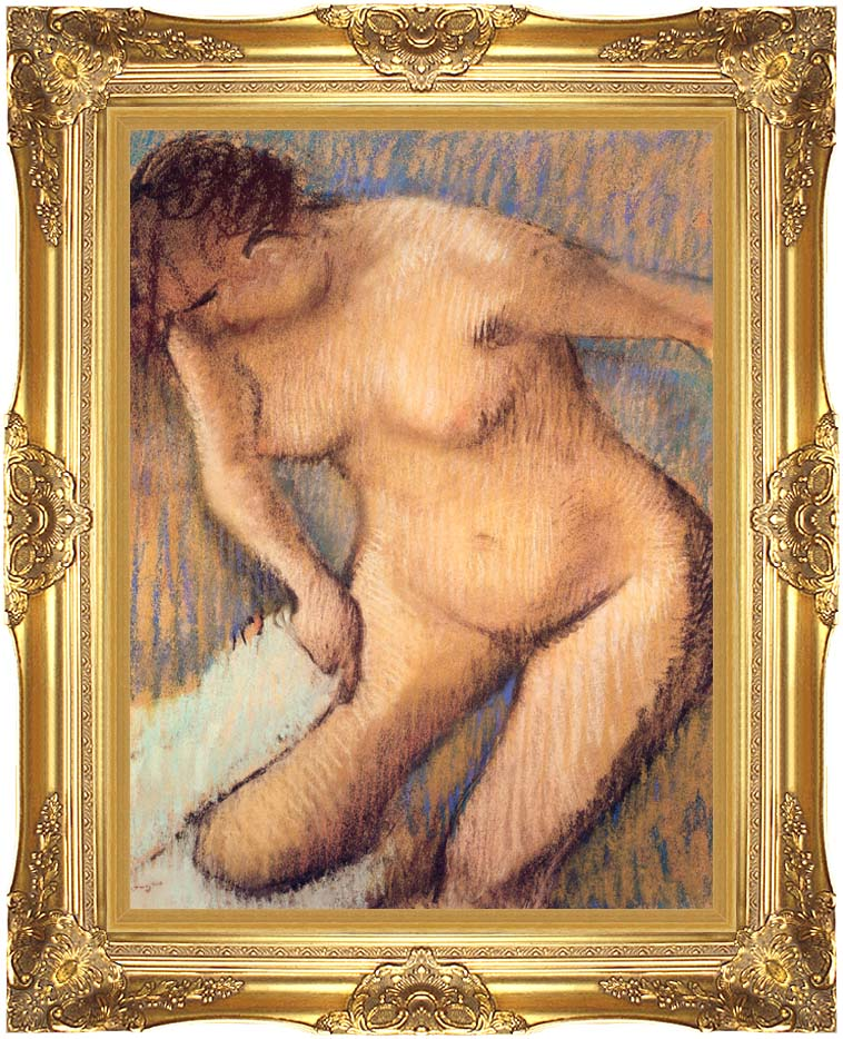 Edgar Degas Woman Drying Her Right Leg seen from the Front with Majestic Gold Frame