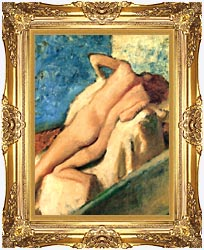 Edgar Degas Nude Woman After The Bath canvas with Majestic Gold frame