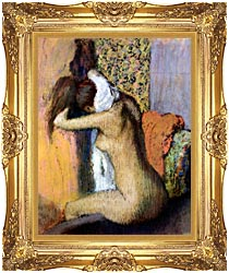 Edgar Degas After The Bath Woman Drying Her Neck canvas with Majestic Gold frame