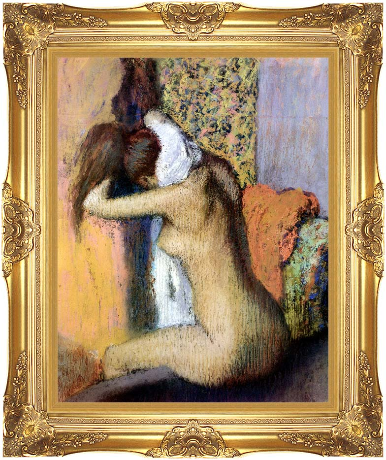 Edgar Degas After the Bath, Woman Drying Her Neck with Majestic Gold Frame