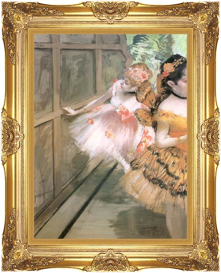 Edgar Degas Impressionist Dancers in the Wings with Majestic Gold Frame