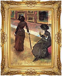 Edgar Degas Mary Cassatt At The Louvre canvas with Majestic Gold frame
