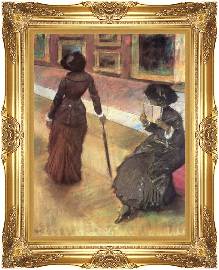 Edgar Degas Mary Cassatt at the Louvre with Majestic Gold Frame