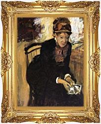 Edgar Degas Miss Cassatt Holding Cards canvas with Majestic Gold frame