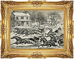 Currier And Ives A Brush For The Lead   New York Flyers On The Snow canvas with Majestic Gold frame