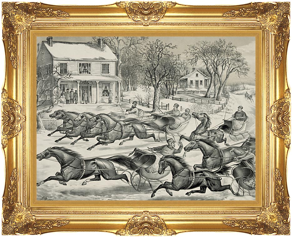 Currier and Ives A Brush for the Lead - New York Flyers on the Snow with Majestic Gold Frame
