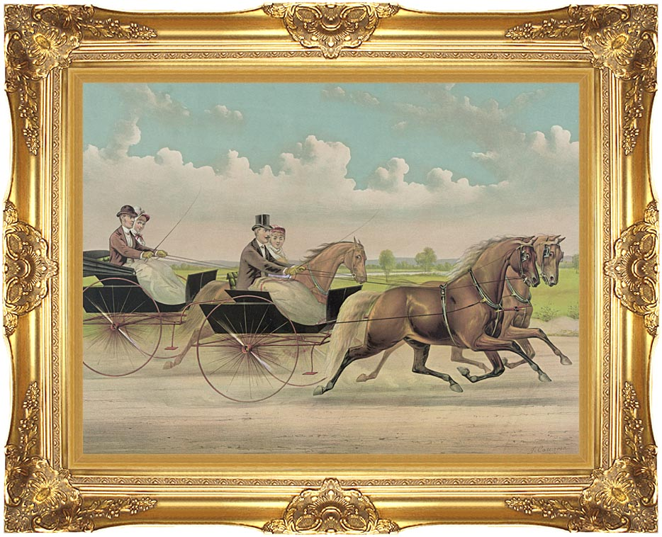 Currier and Ives A Brush with Webster Carts with Majestic Gold Frame