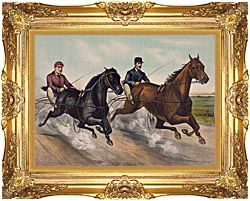 Currier And Ives A Champion Race canvas with Majestic Gold frame