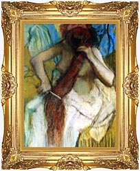 Edgar Degas Nude Woman Combing Her Hair canvas with Majestic Gold frame