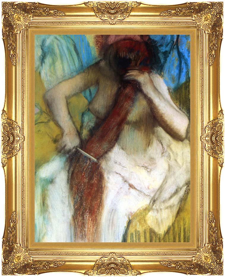 Edgar Degas Nude Woman Combing Her Hair with Majestic Gold Frame
