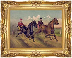 Currier And Ives A Champion Horse Race canvas with Majestic Gold frame