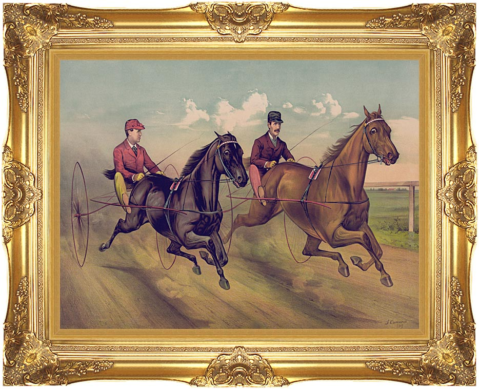 Currier and Ives A Champion Horse Race with Majestic Gold Frame