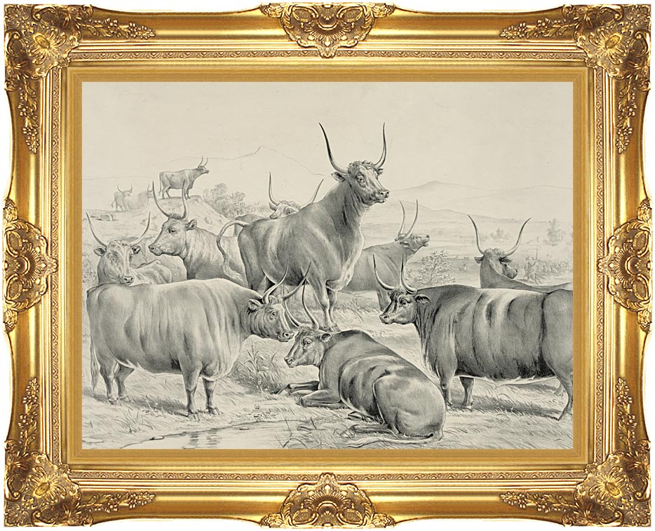Currier and Ives A Prize Herd with Majestic Gold Frame