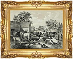 Currier And Ives American Farm Yard   Evening canvas with Majestic Gold frame