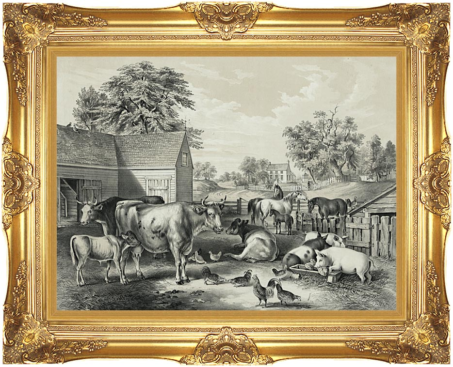 Currier and Ives American Farm Yard - Evening with Majestic Gold Frame
