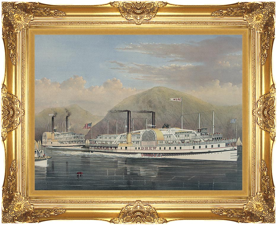 Currier and Ives American Steamboats on the Hudson River with Majestic Gold Frame