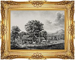 Currier And Ives Autumn In New England   Cider Making canvas with Majestic Gold frame