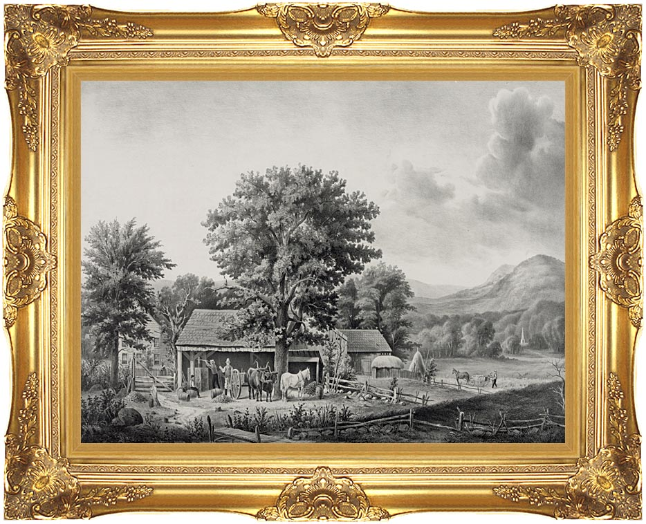 Currier and Ives Autumn in New England - Cider Making with Majestic Gold Frame
