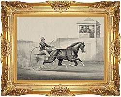 Currier And Ives Celebrated Horse Dexter The King Of The World canvas with Majestic Gold frame