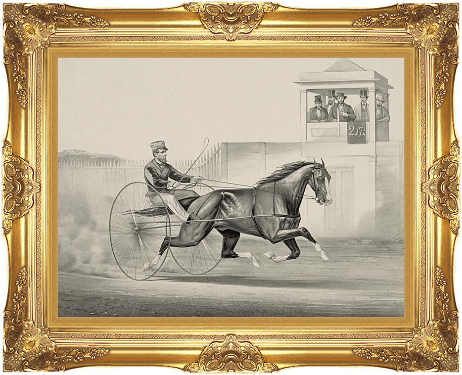 Currier and Ives Celebrated Horse Dexter, The King of the World with Majestic Gold Frame