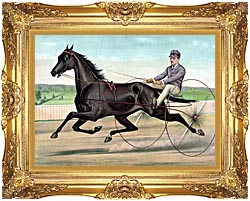 Currier And Ives Celebrated Trotter Jay Eye See canvas with Majestic Gold frame