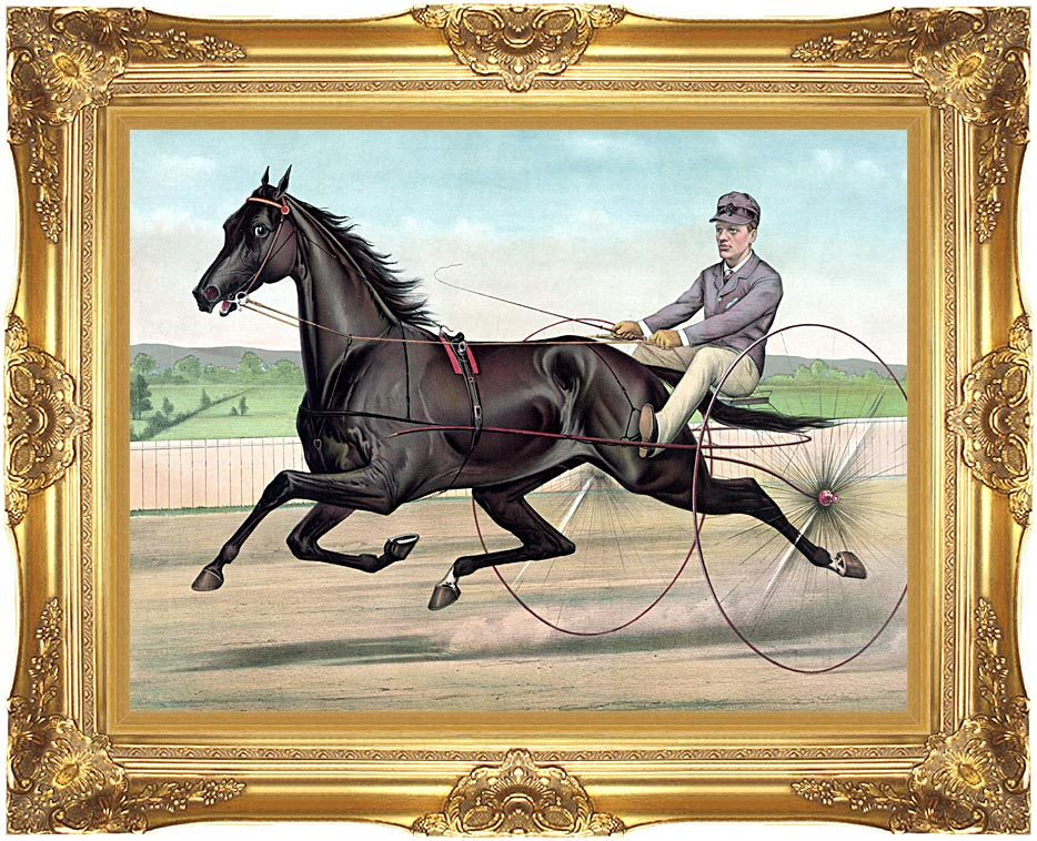 Currier and Ives Celebrated Trotter Jay Eye See with Majestic Gold Frame