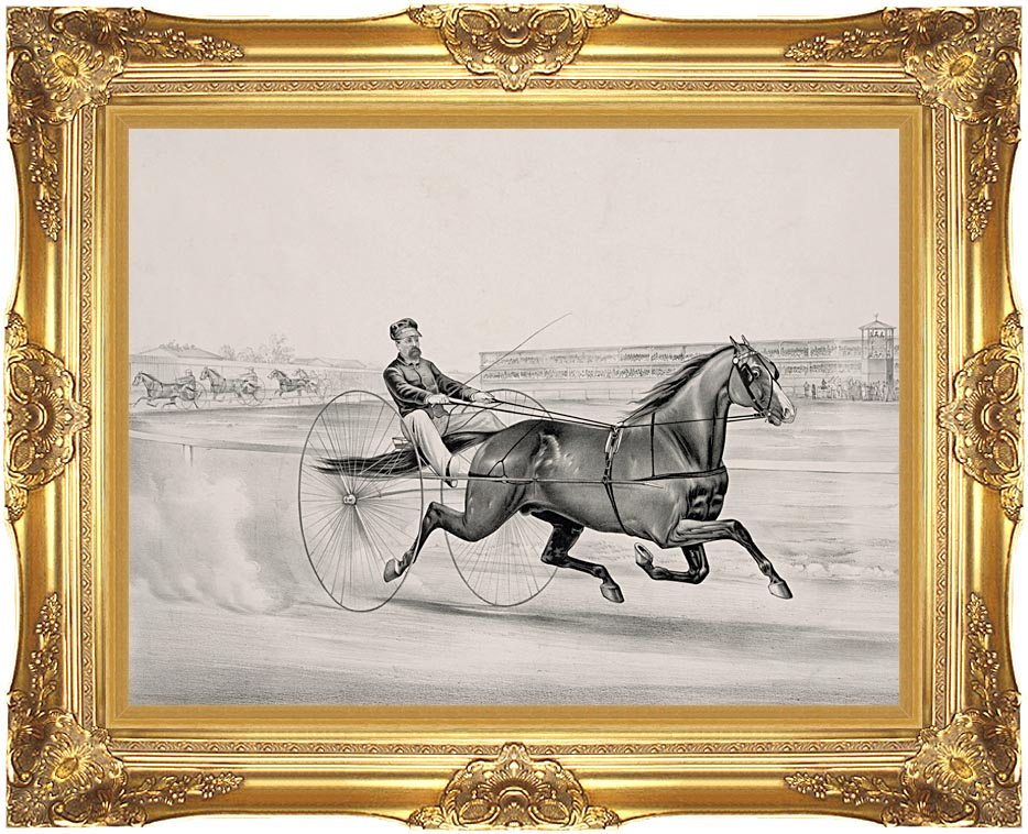 Currier and Ives Champion Trotting Stallion Smuggler with Majestic Gold Frame