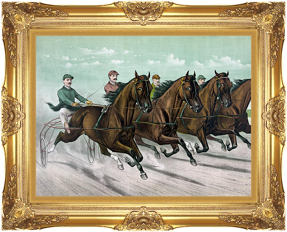 Currier and Ives Champions at Close Quarters with Majestic Gold Frame