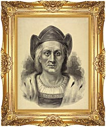 Currier And Ives Christopher Columbus Discoverer Of America canvas with Majestic Gold frame