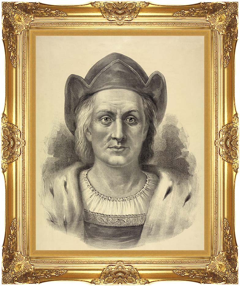 Currier and Ives Christopher Columbus, Discoverer of America with Majestic Gold Frame