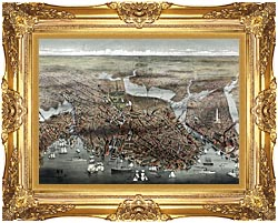 Currier And Ives City Of Boston canvas with Majestic Gold frame