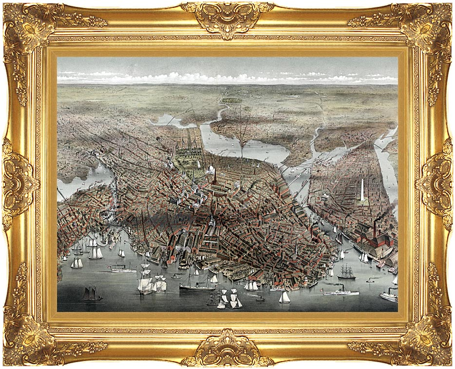 Currier and Ives City of Boston with Majestic Gold Frame