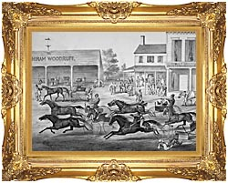Currier And Ives Coming From The Trot   Sports On The Home Stretch canvas with Majestic Gold frame