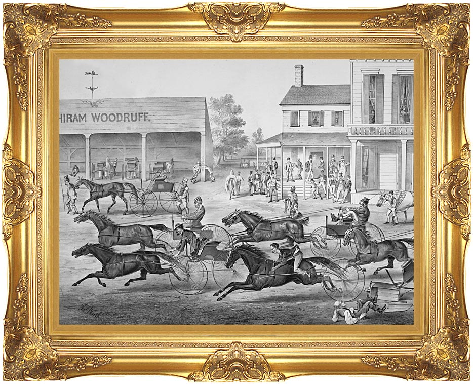 Currier and Ives Coming from the Trot - Sports on the Home Stretch with Majestic Gold Frame