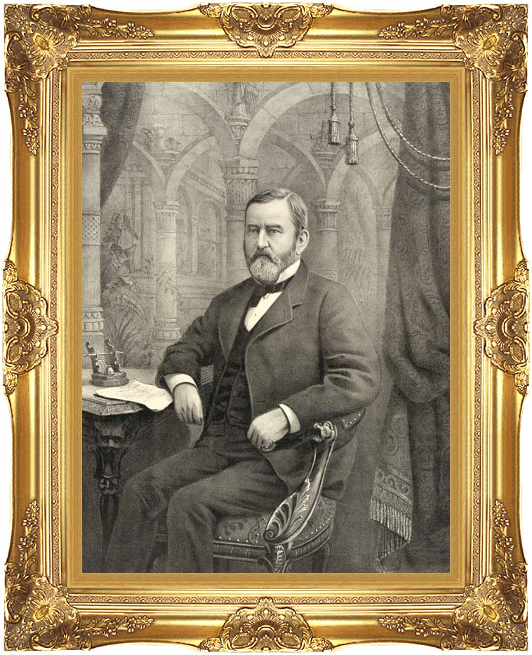 Currier and Ives General Grant in His Library, Writing His Memoirs with Majestic Gold Frame