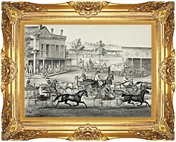 Currier And Ives Going To The Trot   A Good Day And Good Track canvas with Majestic Gold frame