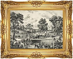 Currier And Ives Grand Drive Central Park NY canvas with Majestic Gold frame