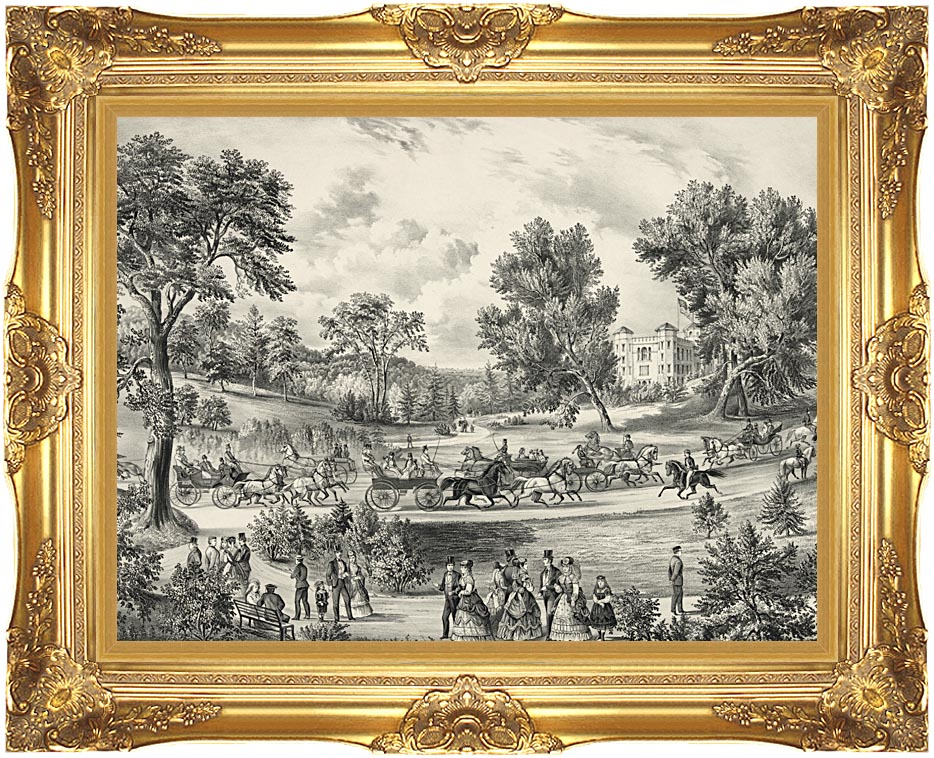 Currier and Ives Grand Drive, Central Park, NY with Majestic Gold Frame