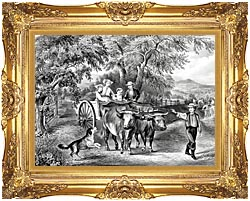 Currier And Ives Haying Time The First Load canvas with Majestic Gold frame
