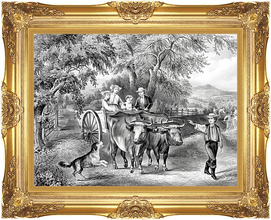 Currier and Ives Haying Time the First Load with Majestic Gold Frame