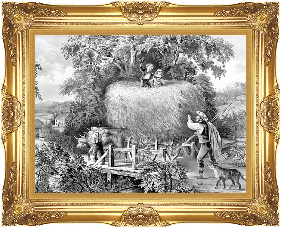 Currier and Ives Haying Time the Last Load with Majestic Gold Frame