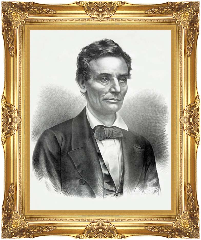 Currier and Ives Hon. Abraham Lincoln of Illinois with Majestic Gold Frame
