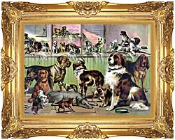 Currier And Ives House Kennel And Field canvas with Majestic Gold frame